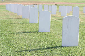 tombstones at cemetary
