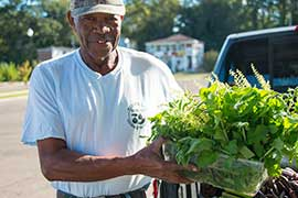 man with fresh herbs at farmers market